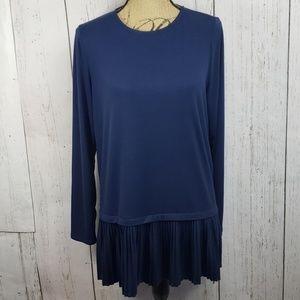 J. Jill Tunic Top Long Sleeve Pleated Hem Blue M